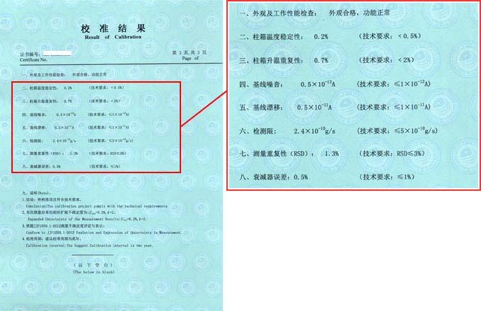 气相色谱仪校准证书结果页图片
